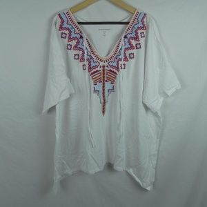 Woman Within Embroidered Tie Front Top Plus 3X